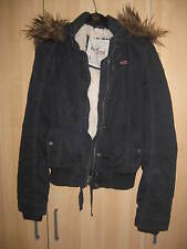 HOLLISTER VINTAGE FAUX FUR SHEARLING BOMBER JACKET COAT NAVY BLUE L LARGE 8 4 36