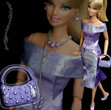 Fashion clothes outfit purse + jewelry necklace earrings for Barbie doll #670