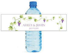 "100 Vineyard Grapevine floral theme wedding anniversary Water Bottle Labels 8""x2"