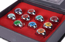NEW ANIME COSPLAY 10 PCS NARUTO AKATSUKI MEMBER'S RING SET WITH BOX-36111