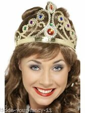 Womens Fancy Dress Jewelled Queen's Crown Tiara England Costume Victorian Queen