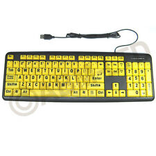 UK Layout Large Print USB Keyboard High Contrast Big Letters PC Numeric Keypad
