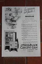 Ancienne publicité presse 1933 - FRIGELUX ELECTRO-LUX IDEAL BIJOU REFRIGERATEUR
