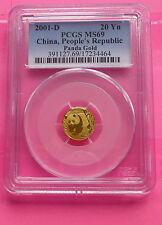 "2001 ""D"" CHINA GOLD  PANDA  20 YUAN PCGS MS69  COIN"