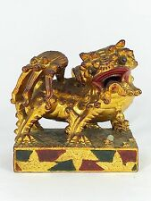 Antique Qing Dynasty Chinese Temple Roof Tile Foo Dog Foo Lion Statue Gold Red