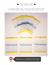 50value 1000pcs 1/4W Metal Film Resistor Assortment Kit( SPRING SALE)