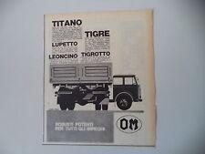advertising Pubblicità 1963 AUTOCARRO OM TITANO/TIGRE/LUPETTO/LEONCINO/TIGROTTO