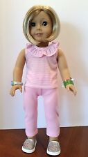 "Pink Striped Ruffled Tank & Leggings fits American Girl or other 18"" Dolls"