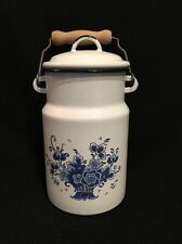 SHABBY CHIC Enamelware Milkcan Blue & White Bouquet with Wood Handle -VINTAGE