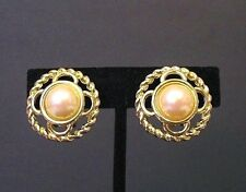 Earrings Vintage Gold Tone With Faux Pearl Earrings Clip-On