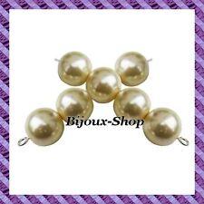 lot de 50 perles de Bohême en verre nacré 10mm coloris Ecru