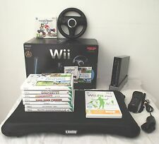 WII CONSOLE  MARIO KART EDITION BLACK+WII FIT BOARD+GAMES+A FREE YEARS WARRANTY