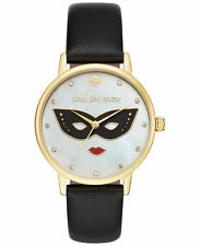 NEW Kate Spade Watch KSW1181 Steal the Scene Leather Band Watch NIB Womens Black