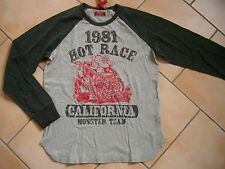 (C238) RARE -The Kid Boys used look Langarm Shirt Logo Affen & Auto Druck gr.152