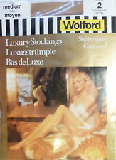 Wolford Medium Size Vintage Super Sheer Luxury Stockings in a Marzipan shade