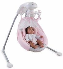 FISHER PRICE CRADLE SWING ROSE CHANDELIER Baby Girl Sleep Nap Play Plug/Battery