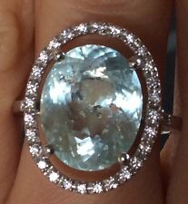 8ct Natural Earth Mined Neon  Aquamarine gem Sterling Platinum over ring 7.5