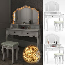 Dressing Table + Stool Makeup Table Storage Mirror Bedroom Vanity table Ambois