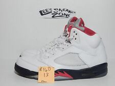 "2012 NIKE AIR JORDAN RETRO V 5 ""FIRE RED"" WHITE BLACK SHOES 136027 100 SIZE 13"