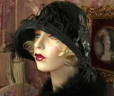1920'S VINTAGE STYLE GATSBY GREY & BLACK BEADED ROSE FEATHER CLOCHE FLAPPER HAT