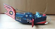 VINTAGE SPACE whale ship. Tin Clockwork Wind Up Toy, il Giappone YOSHIYA KO, anni 1960-RARE