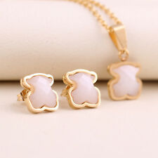 Cute Bear Stainless Steel Necklace+Earrings Black/White Agate Set Fashion Gift