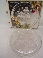 "D'Arques Arcoroc France Crystal Glassware ""Welcome Home"" 13"" Platter Christmas"