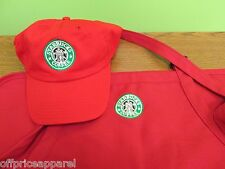 UNIQUE RED Halloween Costume Starbucks barista apron and hat set,both adjust
