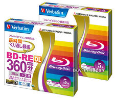 10 Verbatim Bluray Rewritable Discs 2X BD-RW DL 50GB Inkjet Printable Media.