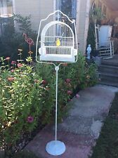 birdcage bird cage and stand feeders iron vtg antique metal ornate