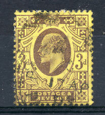 GB = 1902 onwards E7 3d Pale Purple on Lemon. SG 232-234. Used. (a)