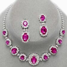 Fuchsia Pink Clear Crystal Rhinestone Bridal Wedding Formal Necklace Set