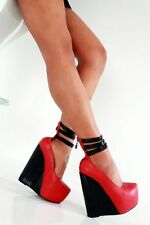 GIARO SHOES RED BLACK EU38 UK4.5-5 HIGH HEELS WEDGES SEXY FETISH CD TV PLEASER