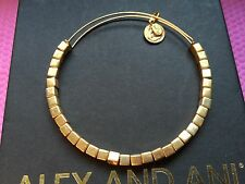NEW ALEX and ANI Vintage GOLD LUSTER Square Beaded Singles BANGLE BRACELET