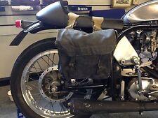 La Segunda Guerra Mundial era Negro Usado Mediano Moto Alforjas Resistente Lona De Tela [ 72566 ]
