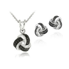 Black Diamond Accent Love Knot Necklace & Earrings Set
