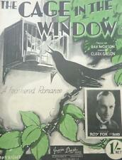 Vintage  - THE CAGE IN THE WINDOW black bird Romance MUSIC SHEET & words 1933