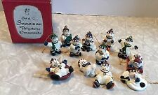 Set of 12 Giftco Inc Miniature Snowmen Ornaments Polystone With Original Box