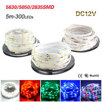 5M  RGB LED Strip Flexible Light Lamp Ribbon Tape 3528 5630 5050 2835 SMD 300LED