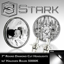 "H6024 Head Light Glass Housing Lamp Conversion Diamond Chrome 7"" Round PAIR (A)"