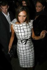 Monochrome Grid Checkered Ruffle Neck Dress With Belt Size S 6/8