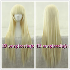 85CM long Chobits Chii Blonde Straight beige gold Cosplay Wig + Free wig cap