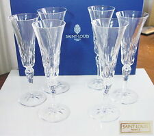 Saint ST LOUIS Crystal, France, STELLA Champagne Flutes, Set of 6, New in Box