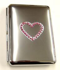 Cigarette Case Chrome/Pink Crystal Heart Holds 10 King Size (10937)