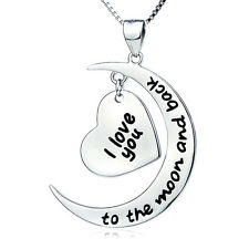 925 Silver Plt 'I Love You To The Moon and Back'  Necklace Pendant  Ladies Gift