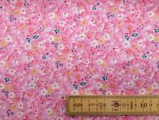 FLORAL POLYCOTTON FABRIC MEADOW FLOWERS FRENCH NAVY SKY BLUE BLACK PINK CREAM