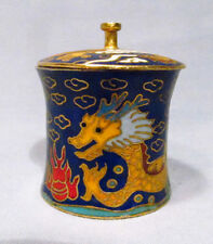 Vintage Cloisonne Dragon Sea Serpent Stamp Holder Trinket Box Container