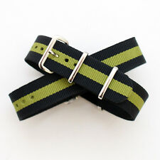 Black / Green Stripe Nato / Nylon Watch Strap : 20mm (FL174)