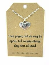"Rhinestone Heart ""Cousin"" Pendant 18"" Necklace Brand New Gift Card Quote"