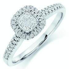 RRP £1500  0.50Ct Princess & Round Diamond Halo Set Engagement Ring ,White Gold.